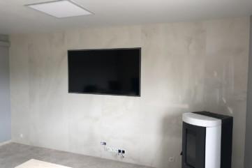 Ściana TV ze spieku Onice Bianco