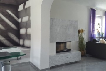 Kominek marmurowy Bianco Cararra CD