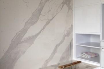 Blat zlew ściana ze spieku Bianco Statuario Venato